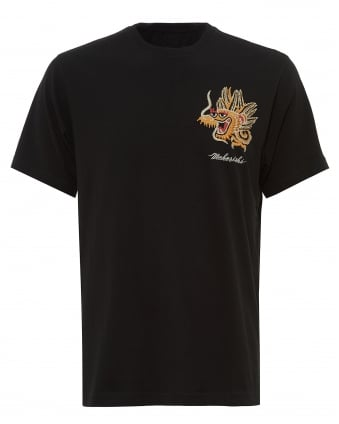 Mens Golden Dragon T-Shirt, Embroidered Black Tee