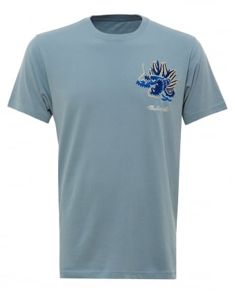 Mens Golden Dragon T-Shirt, Embroidered Ghost Blue Tee
