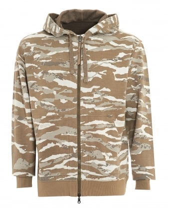 Mens Hoodie, Reversible Cammo Natural Zip Sweatshirt