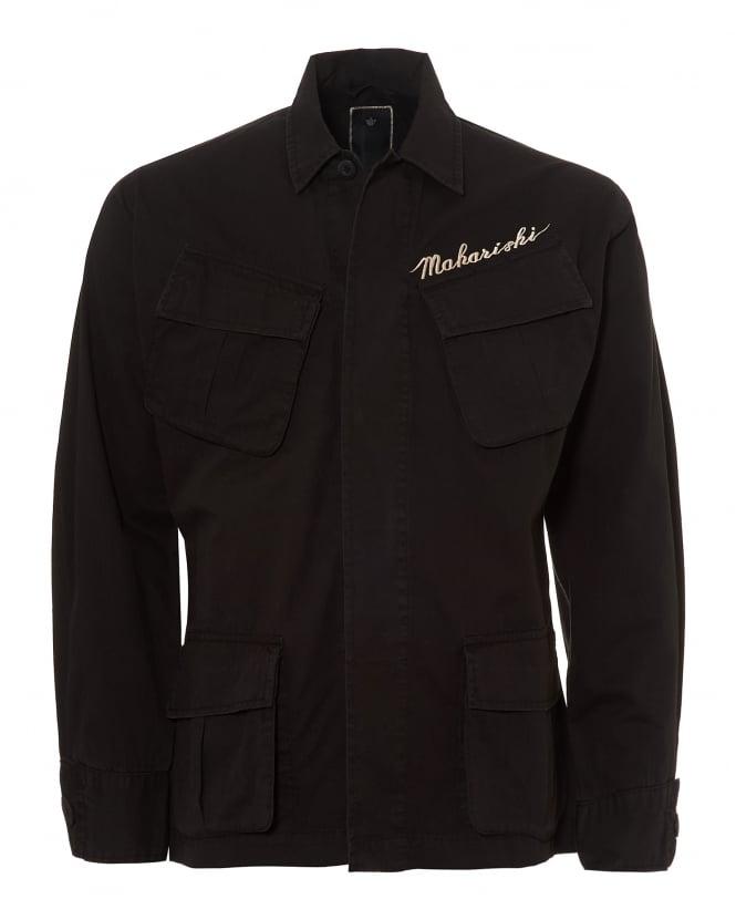 Repertoire Fashion Maharishi Mens Jungle Jacket, Embroidered Logo Black Overshirt