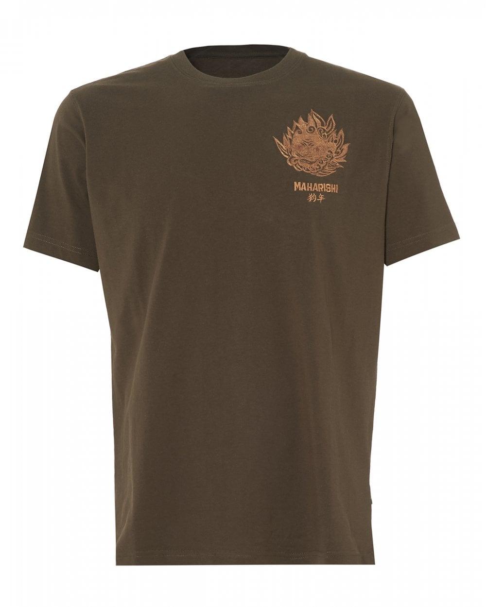 20380a11 Maharishi Mens Komainu Logo T-Shirt, Olive Green Crew Neck Tee