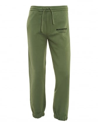 Mens Militaire Sweatpants, Patina Green Logo Track Pants