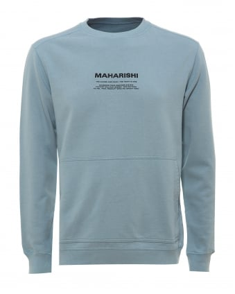 Mens Miltype Sweatshirt, Military Text Ghost Blue Sweat