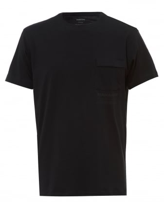 Mens Miltype T-Shirt, Chest Pocket Black Tee