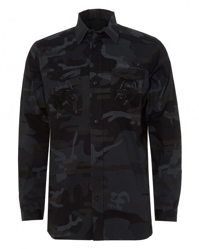 Maharishi Mens Panther Night Grey Cotton Shirt