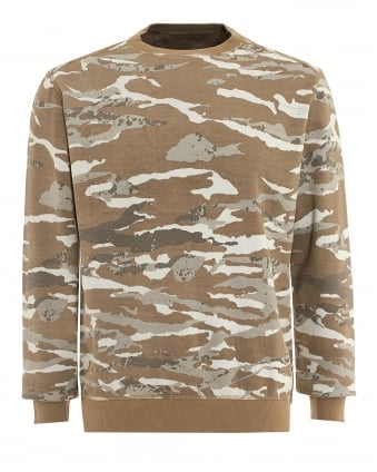 Mens Reversible Sweat, Cammo Crew Natural Sweatshirt
