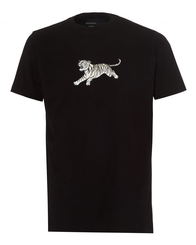 Repertoire Fashion Maharishi Mens Running Tiger T-Shirt, Regular Fit Black Tee