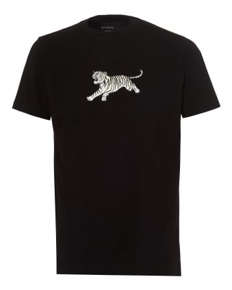 Mens Running Tiger T-Shirt, Regular Fit Black Tee