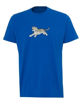 Mens Running Tiger T-Shirt, Regular Fit Electric Blue Tee