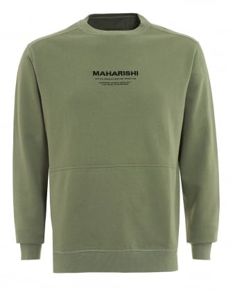 Mens Sweat, Script Logo Crew Patina Green Sweatshirt