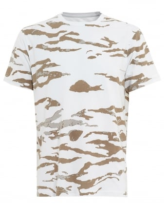 Mens T-Shirt, Camo Tiger Stripe Natural White Tee