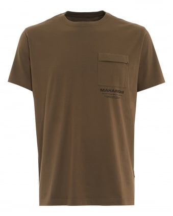 Mens T-Shirt, Chest Pocket Logo Olive Green Tee