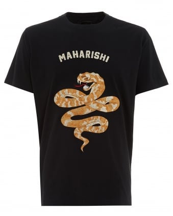 Mens T-Shirt, Madder Snake Embroidered Black Tee