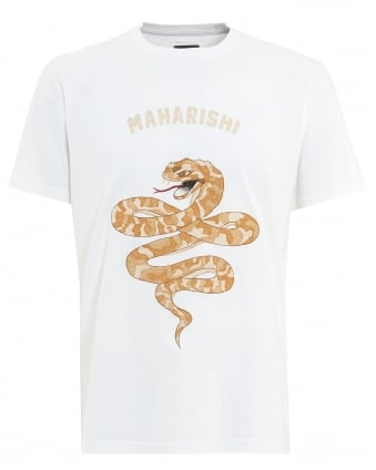 Mens T-Shirt, Madder Snake Embroidered White Tee