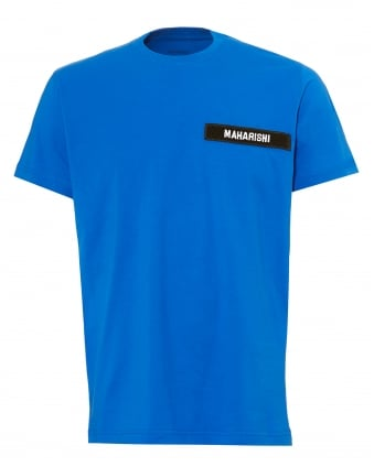 Mens Tape Logo T-Shirt, Regular Fit Electric Blue Tee