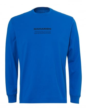 Mens Text Panel T-Shirt, Long Sleeve Electric Blue Tee