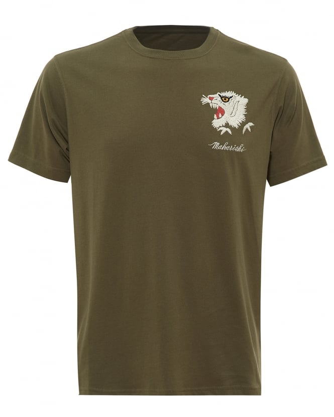 Maharishi Mens White Tiger T-Shirt, Embroidered Olive Green Tee