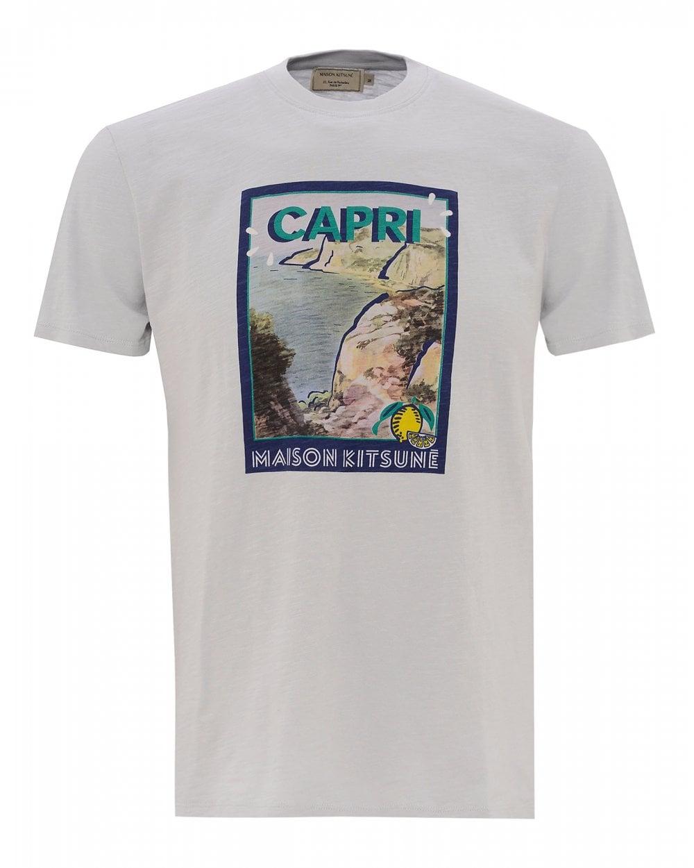 3c0a0a64566a Maison Kitsuné Mens Printed Capri Graphic T-Shirt, Grey Tee