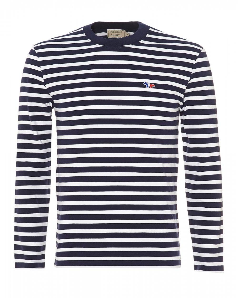 227c92e8dbf0 Maison Kitsune Mens Striped Fox Patch T-Shirt