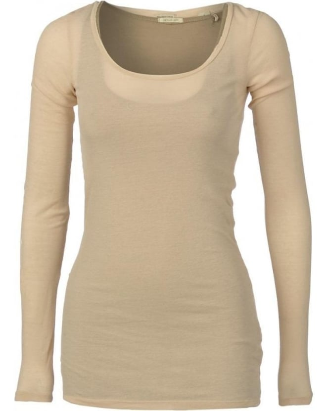 Maison Scotch T-shirt, Beige & Khaki 2 In 1 Long Sleeve Tank Top & Tee 50807