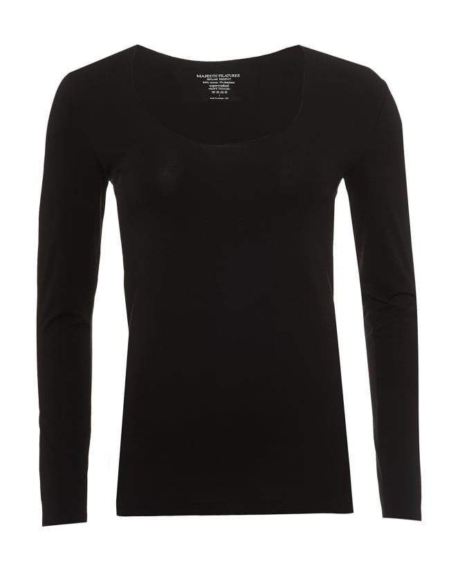 Majestic Filatures Womens Long Sleeved T-Shirt, Scoop Neck Black Tee