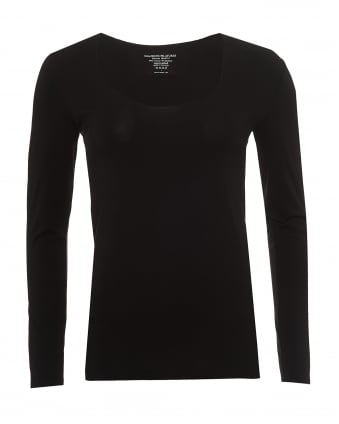 Womens Long Sleeved T-Shirt, Scoop Neck Black Tee
