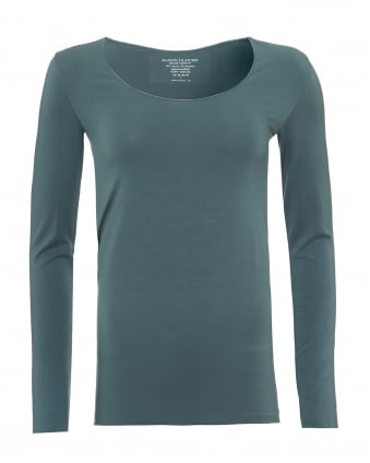 Womens Long Sleeved T-Shirt, Scoop Neck Bleu Corse Tee