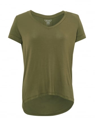 Womens Longer Back T-Shirt, V Scoop Neck Khaki Green Tee