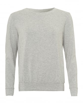 Womens Loose Sweat Top, Round Neck Grey Marl Jumper