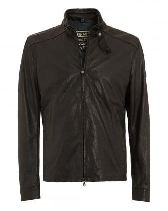 Mens Blouson Jacket, Black Leather Nappa Leatheri Biker