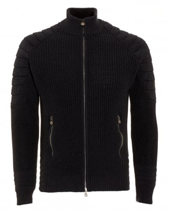 Mens Cardigan, Manx Knitted Black Full Zip Sweater