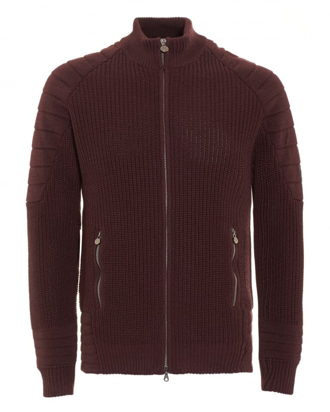 Matchless Mens Cardigan, Manx Knitted Burgundy Full Zip Sweater