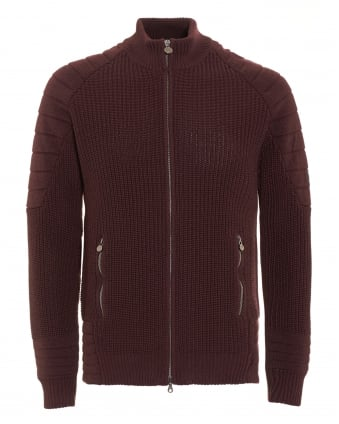 Mens Cardigan, Manx Knitted Burgundy Full Zip Sweater
