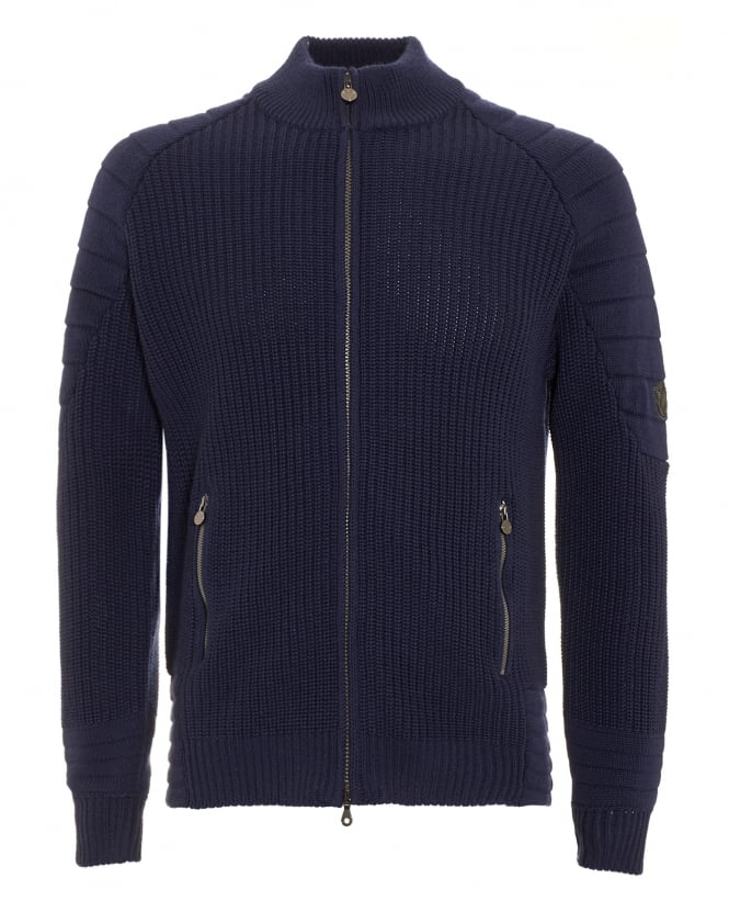 Matchless Mens Cardigan, Manx Knitted Navy Blue Full Zip Sweater