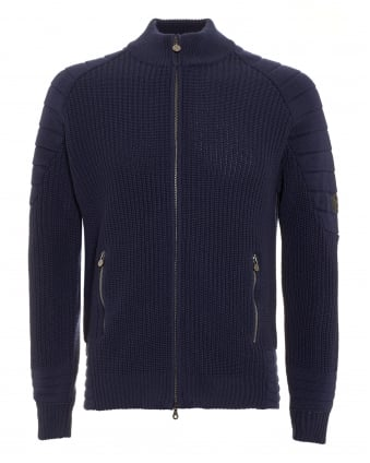 Mens Cardigan, Manx Knitted Navy Blue Full Zip Sweater