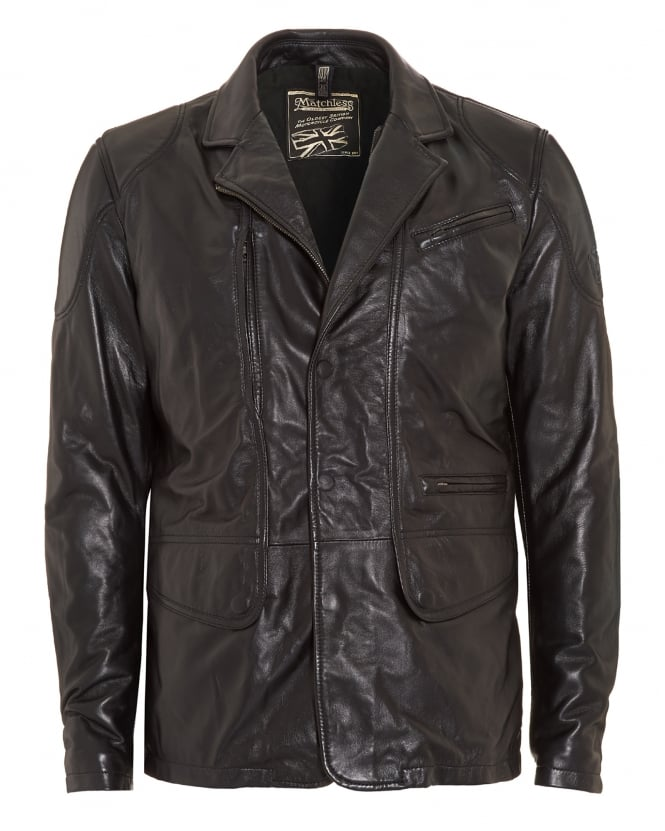 Matchless Mens Coat, Boston Blazer Black Leather Jacket