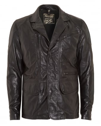 Mens Coat, Boston Blazer Black Leather Jacket