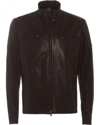 Mens Jacket Mold Blouson Antique Black Hybrid Leather Jacket