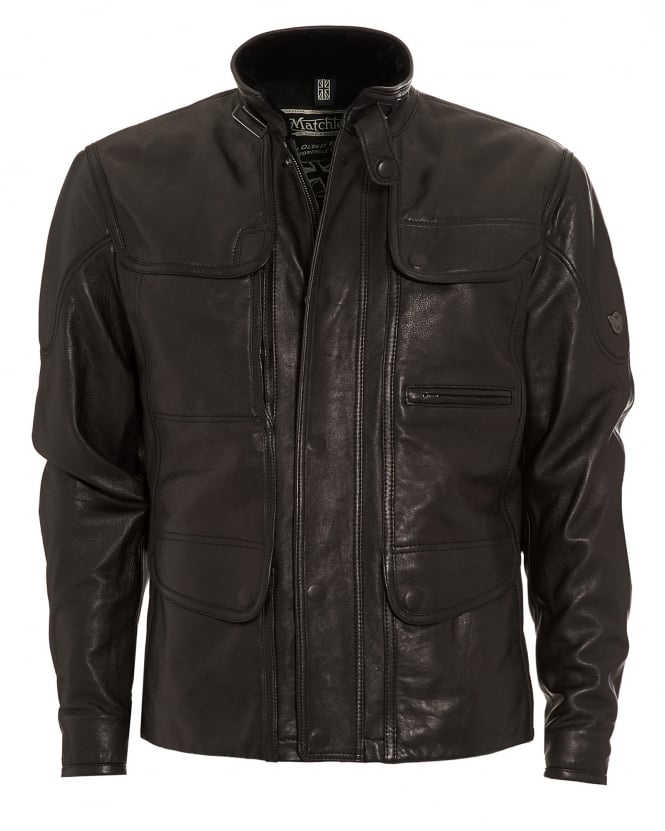 Matchless Mens Kensington Jacket, Black Leather Biker Jacket