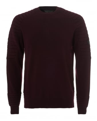 Mens Mick Roundneck Jumper, Moto Arm Burgundy Sweater