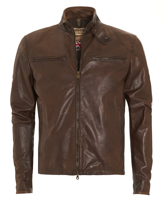 Matchless Mens Osborne Blouson Antique Brown Leather Biker Jacket