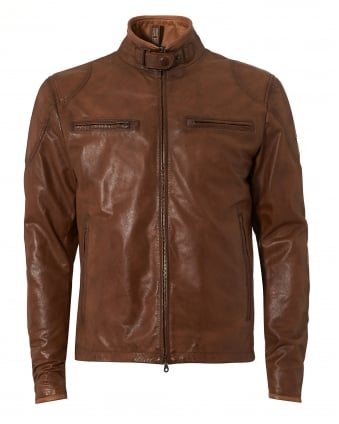 Mens Osbourne Jacket, Classic Brown Leather Jacket