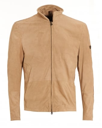 Mens Scarlet Craig Blouson Jacket, Beige Suede Zip Up Biker Jacket