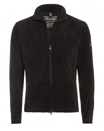 Mens Scarlet Craig Blouson Jacket, Black Suede Zip Up Biker Jacket