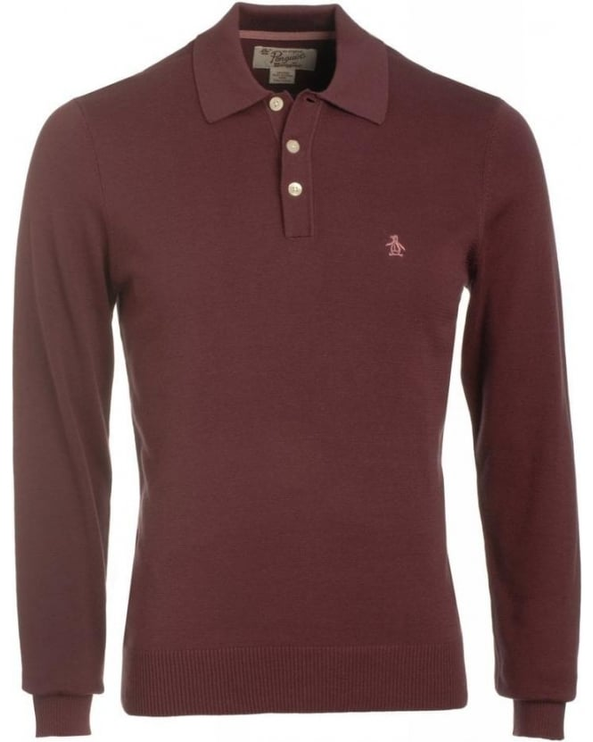 Original Penguin Mauve Wine Long Sleeve Slim Fit Polo Shirt
