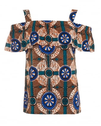 Womens Acino African Print Off Shoulder Top