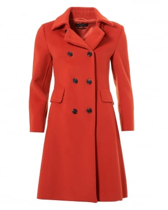 Womens Acino Fitted Princess Coat, Double Collar Red Brick Jacket