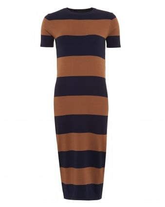 Womens Addi Dress, Navy Brown Stripe Midi