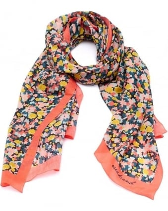 Womens Agoram Scarf, Orange Multi Coloured Floral