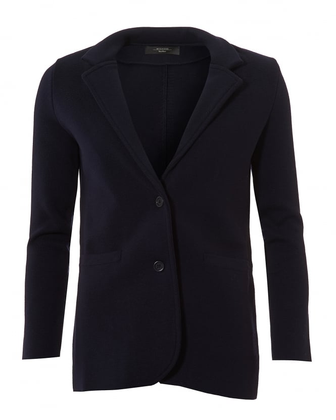 Max Mara Weekend Womens Alacre 2-Button Midnight Blue Knitted Jacket
